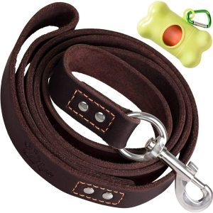 ADITYNA Heavy Duty Leather Large Dog Leash 6 Foot