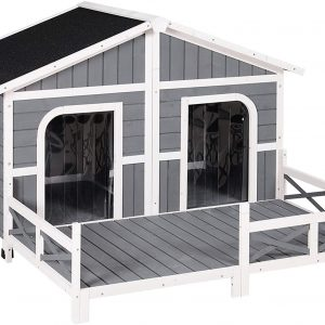 PawHut Wood Large Dog House Cabin Style