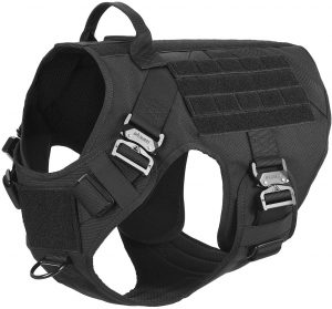 ICEFANG Tactical Large Dog Harness with 4X Metal Buckle