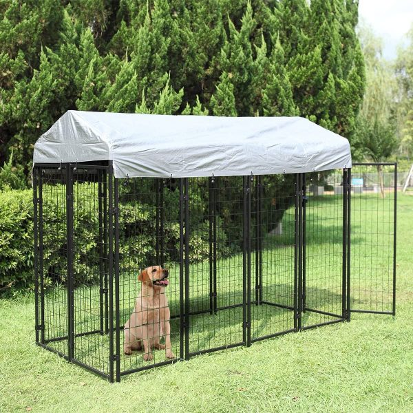 JAXPETY Large Dog Uptown Welded Wire Kennel w/Roof