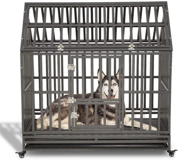 LLUCKUP Heavy Duty Large Dog Crate Strong Metal Kennel arge Dog Kennels